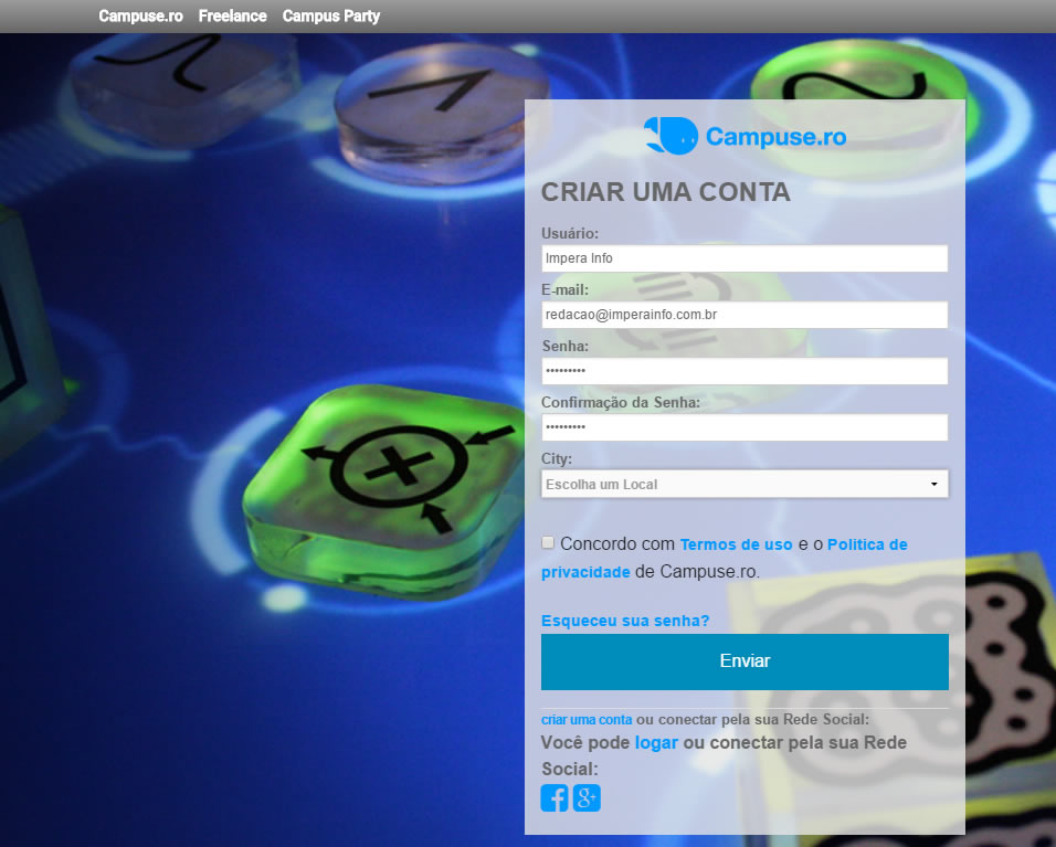 Cadastro para acesso aos vídeos da Campus Party