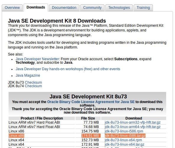 Baixar o JDK versão para o Linux de arquitetura de 30 bits