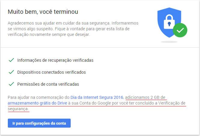 Conclusão da verificação de segurança do Google Drive