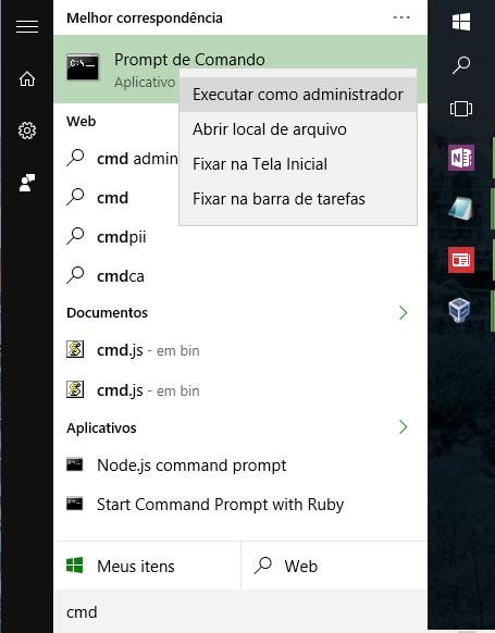 Executar o prompt de comando em modo administrativo
