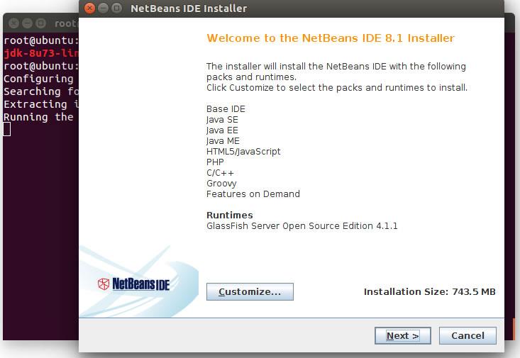 Instalador do Netbeans é lançado na tela do usuário