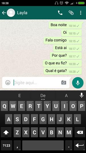 Mensagens enviadas para outro contato no WhatsApp