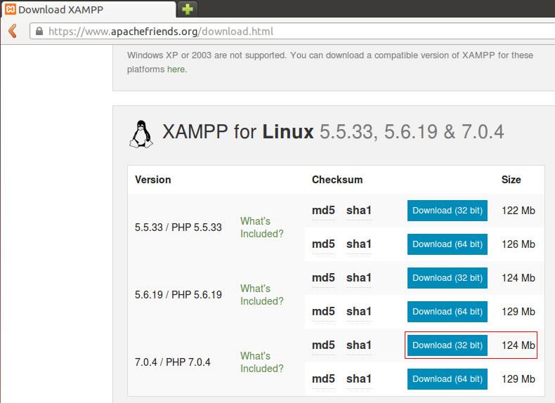 Versões do XAMPP para a distribuição Ubuntu