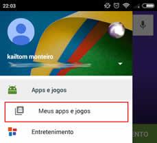 Meus apps e Jogos da Play Store