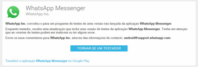 Versão de teste do WhatsApp